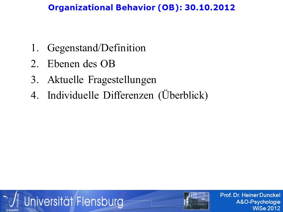 Organizational Behavior (OB):