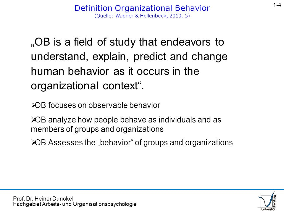 1-4 Definition Organizational Behavior. (Quelle: Wagner & Hollenbeck, 2010, 5)