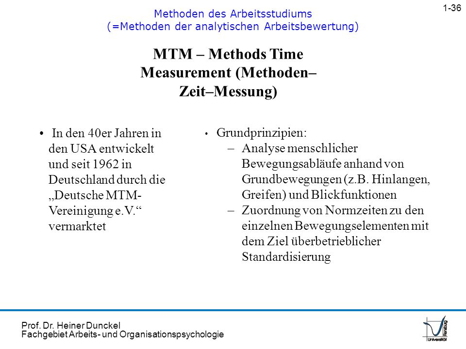 MTM – Methods Time Measurement (Methoden–Zeit–Messung)