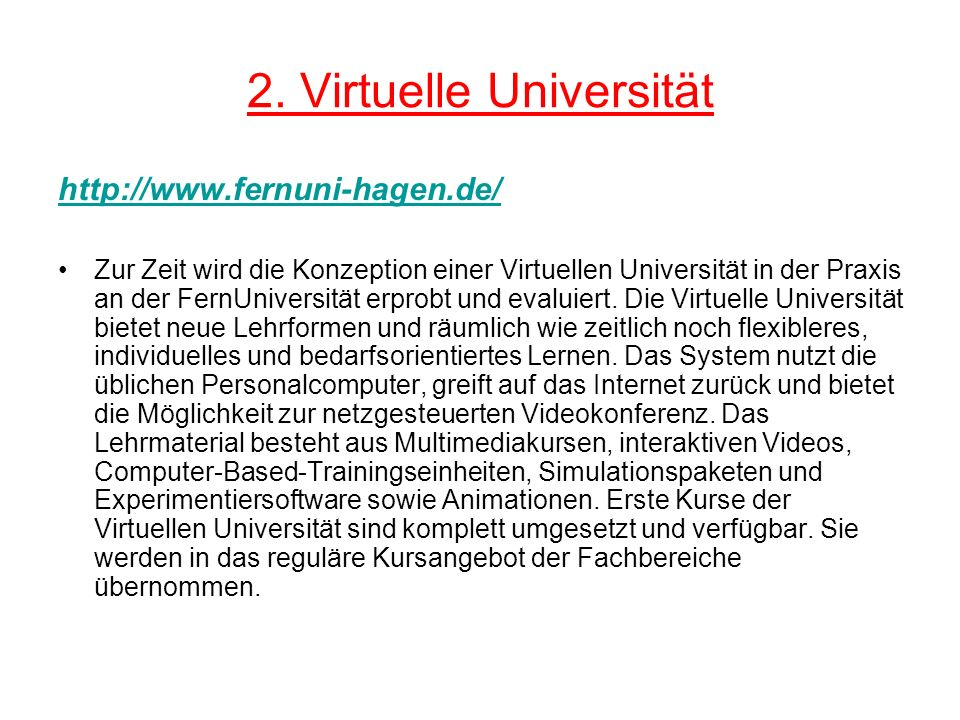 2. Virtuelle Universität