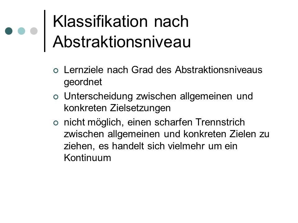 Klassifikation nach Abstraktionsniveau