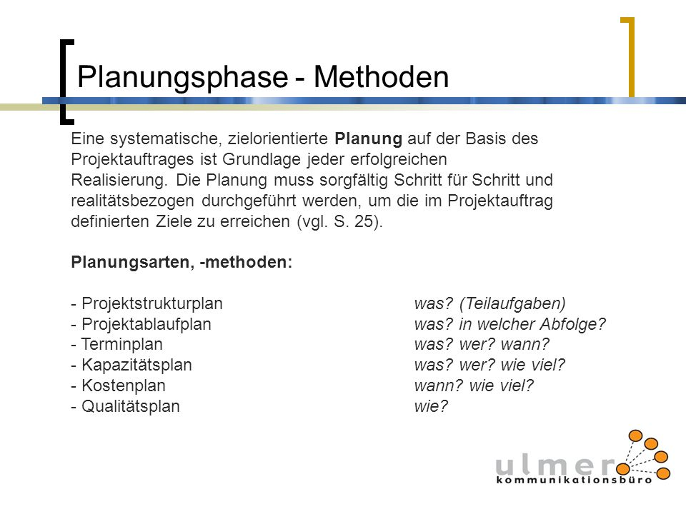 Planungsphase - Methoden