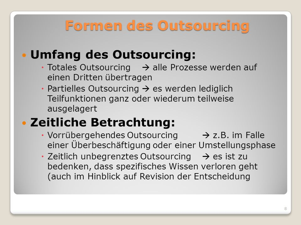 Formen des Outsourcing