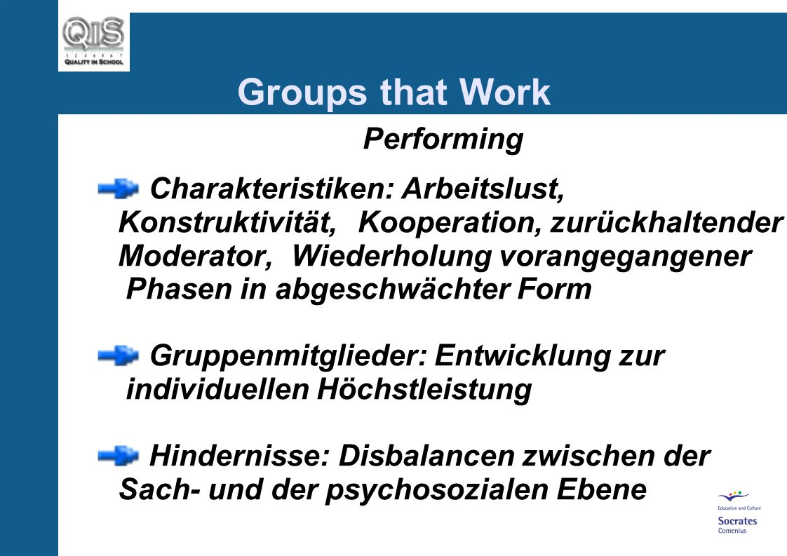 Groups that Work Performing