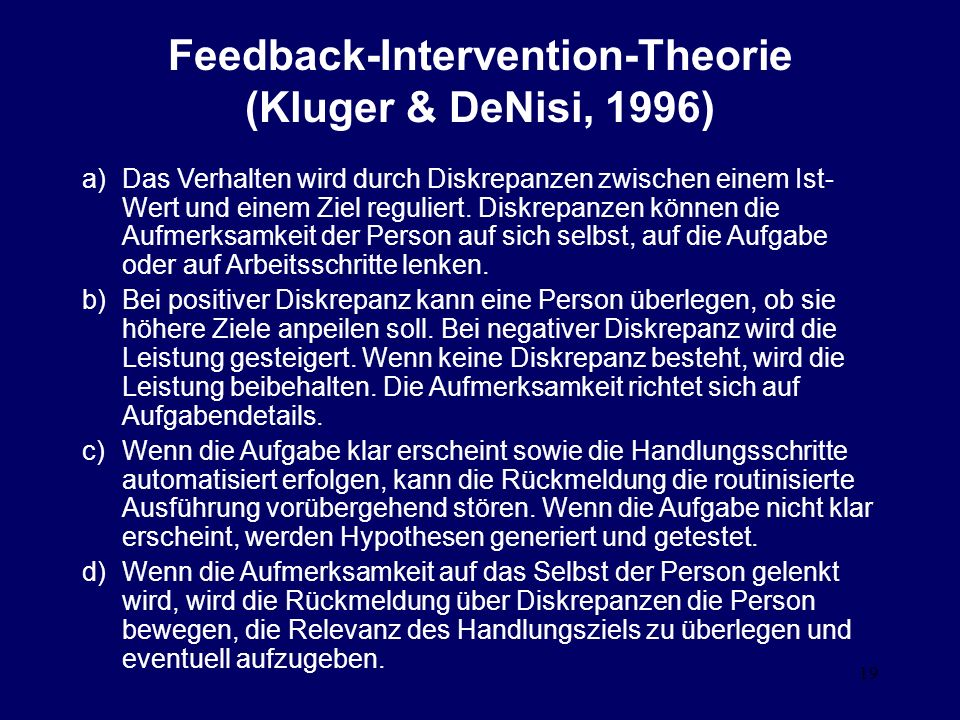 Feedback-Intervention-Theorie (Kluger & DeNisi, 1996)