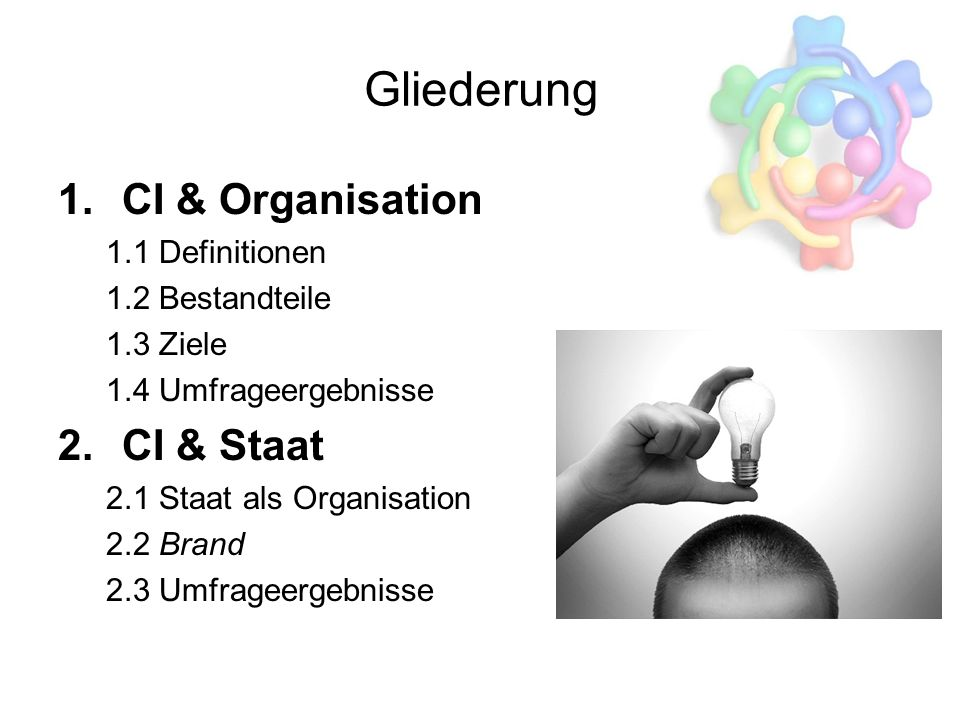 Gliederung CI & Organisation CI & Staat 1.1 Definitionen