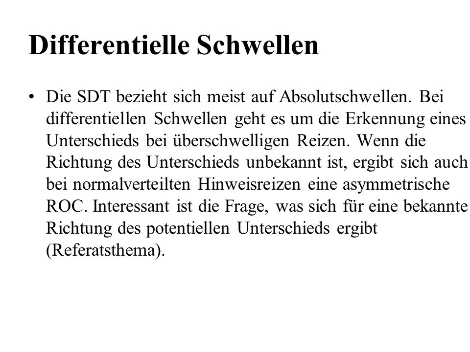 Differentielle Schwellen