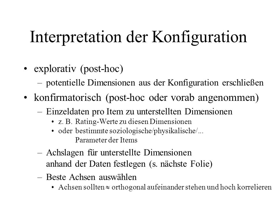 Interpretation der Konfiguration