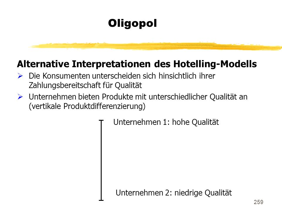 Oligopol Alternative Interpretationen des Hotelling-Modells