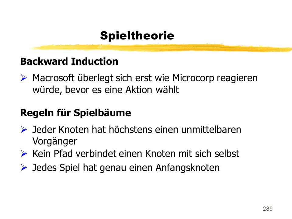 Spieltheorie Backward Induction