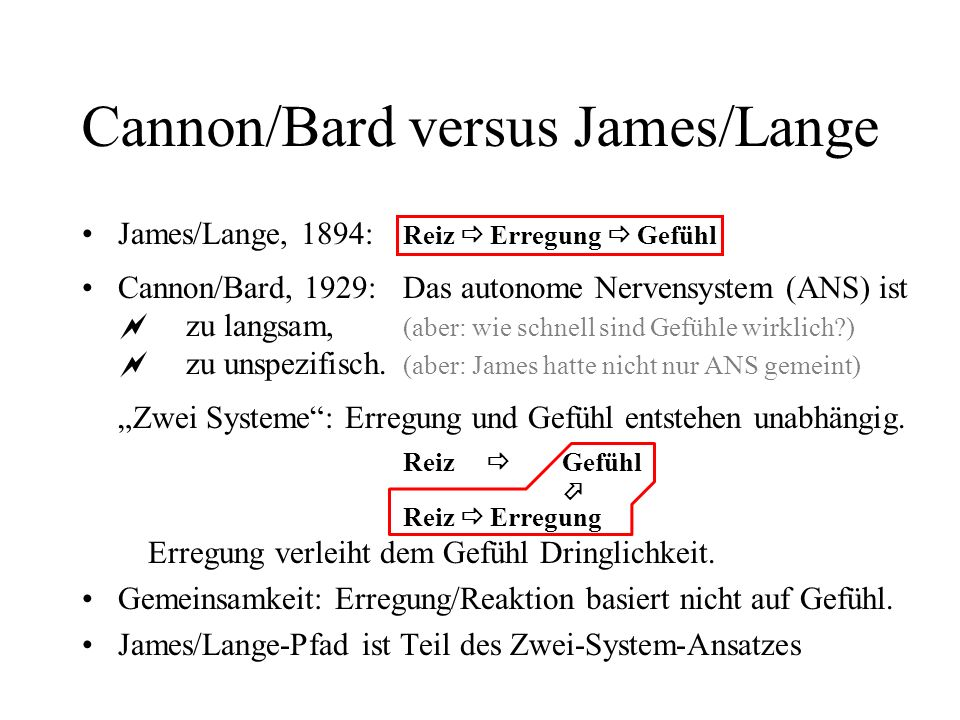 Cannon/Bard versus James/Lange