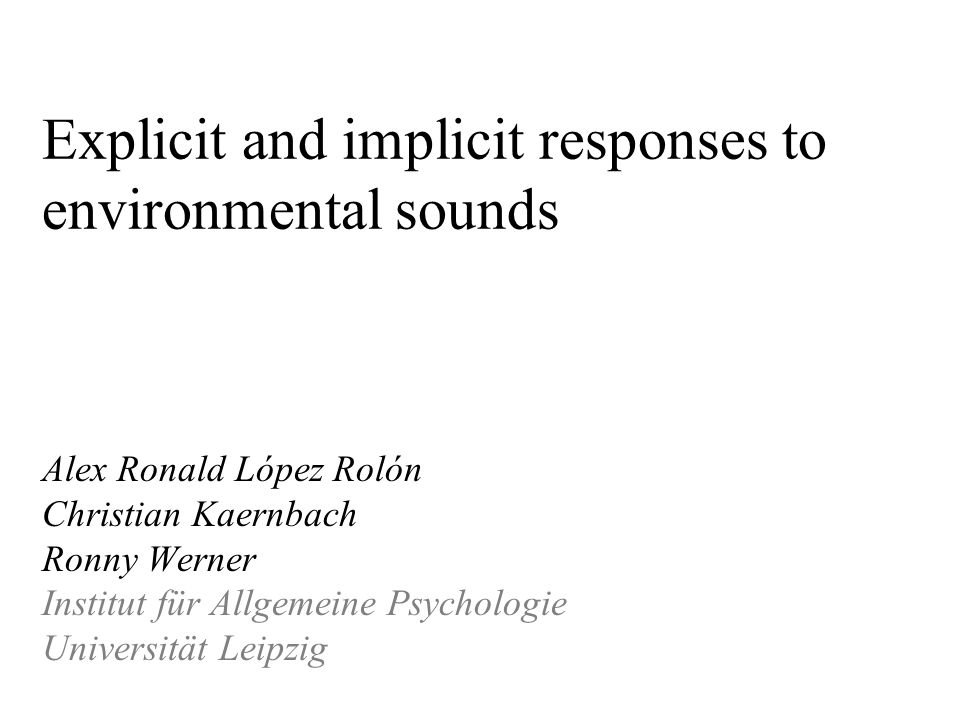 Explicit and implicit responses to environmental sounds