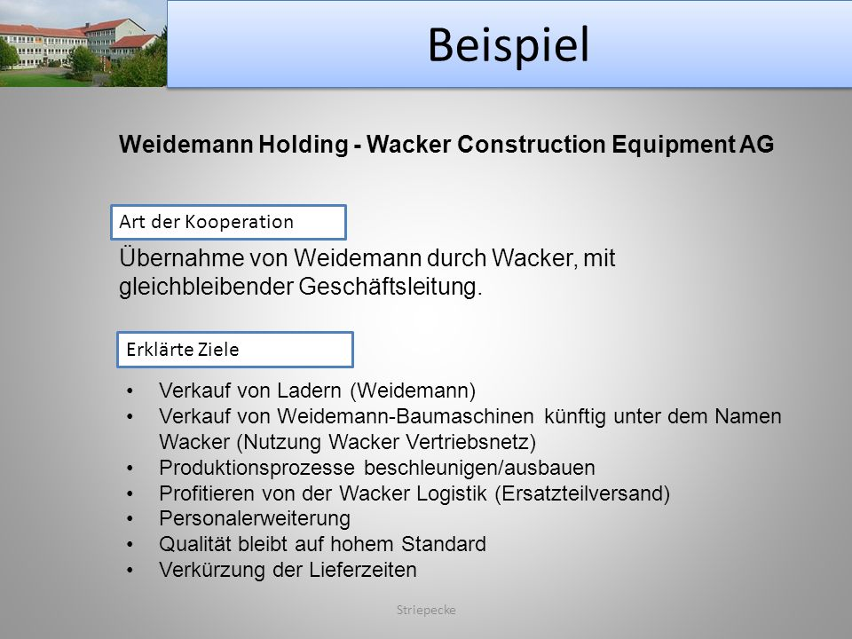 Beispiel Weidemann Holding - Wacker Construction Equipment AG