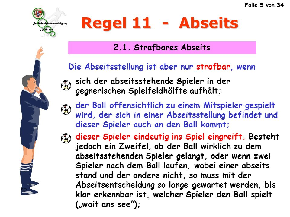 Regel 11 - Abseits 2.1. Strafbares Abseits