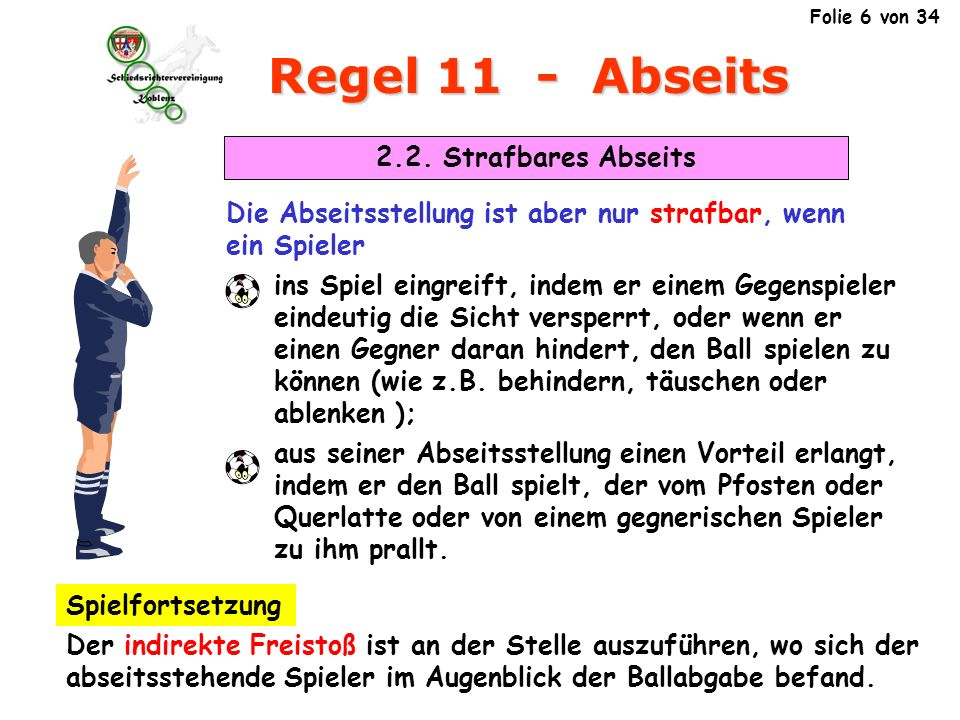 Regel 11 - Abseits 2.2. Strafbares Abseits