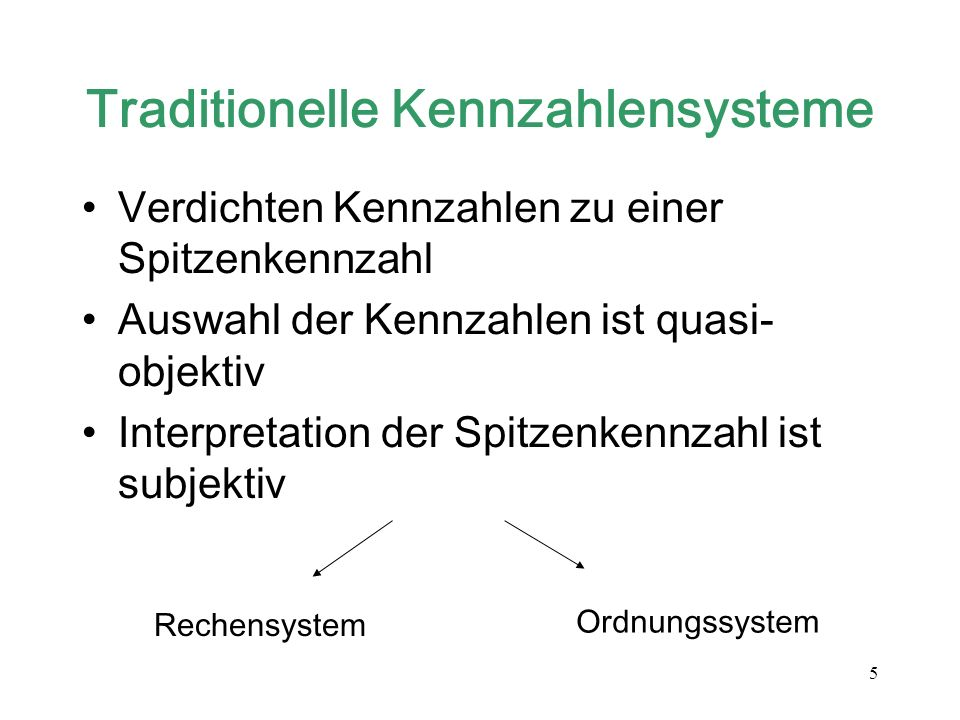 Traditionelle Kennzahlensysteme