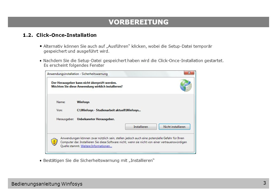 VORBEREITUNG 1.2. Click-Once-Installation