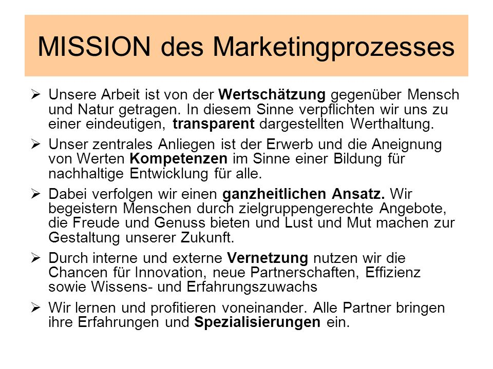 MISSION des Marketingprozesses