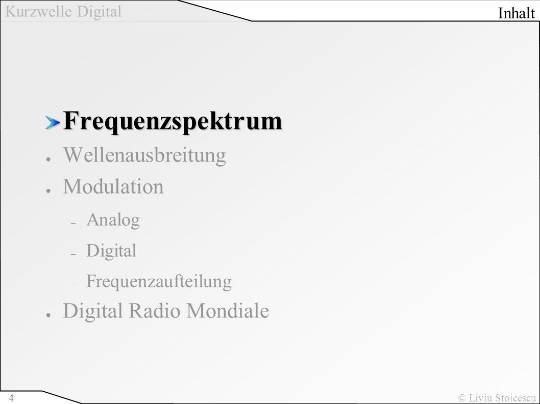 Frequenzspektrum Wellenausbreitung Modulation Digital Radio Mondiale
