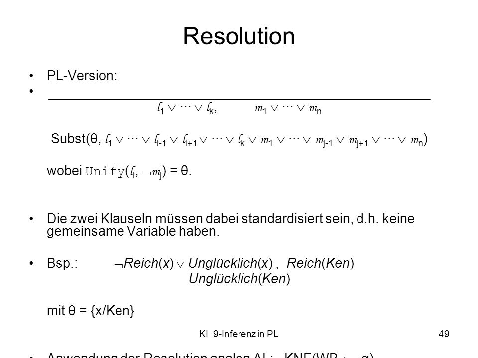 Resolution PL-Version: l1  ···  lk, m1  ···  mn