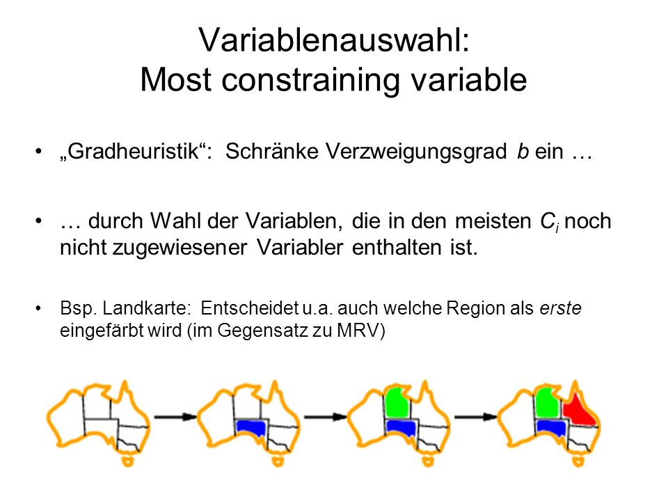 Variablenauswahl: Most constraining variable