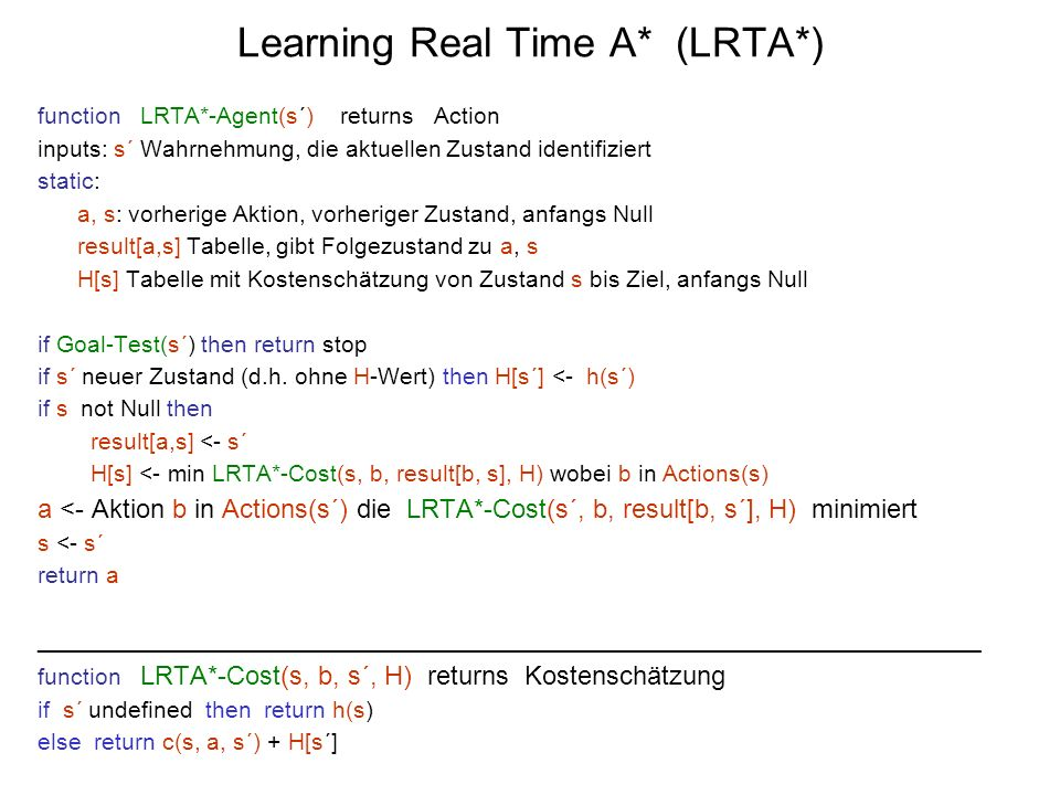 Learning Real Time A* (LRTA*)