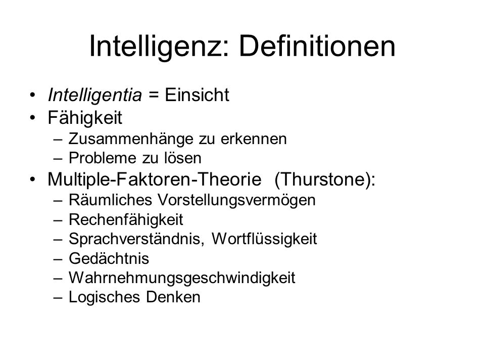 Intelligenz: Definitionen