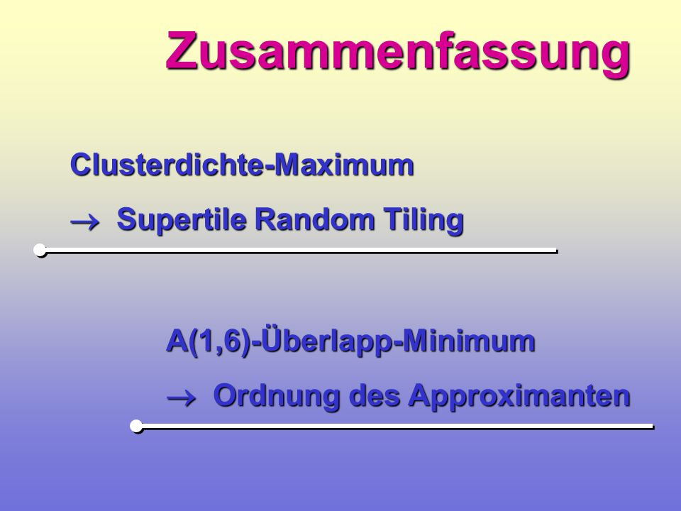 Zusammenfassung Clusterdichte-Maximum  Supertile Random Tiling