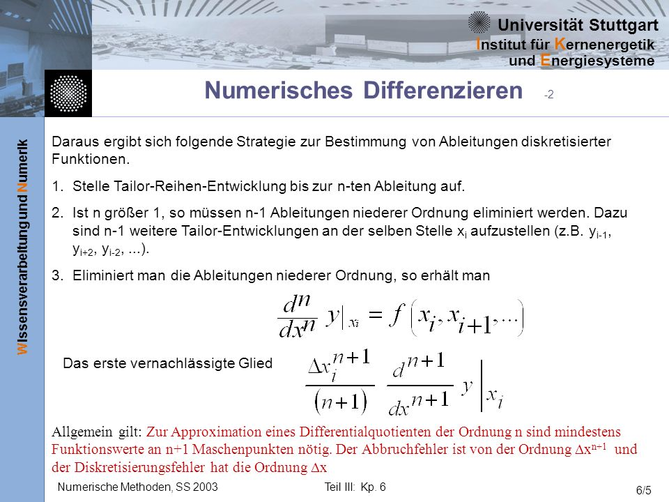 Numerisches Differenzieren -2