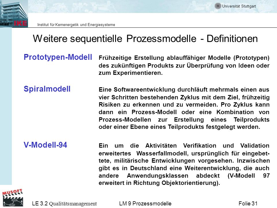 Weitere sequentielle Prozessmodelle - Definitionen