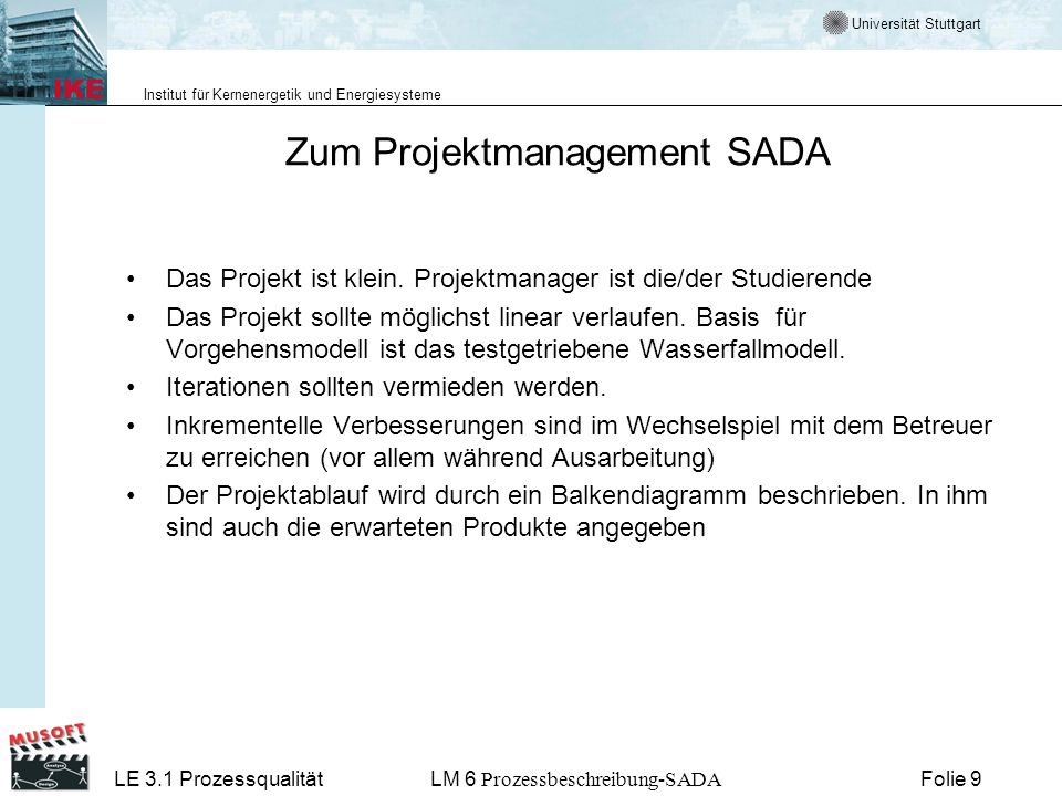 Zum Projektmanagement SADA