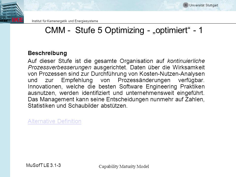 "CMM - Stufe 5 Optimizing - ""optimiert - 1"