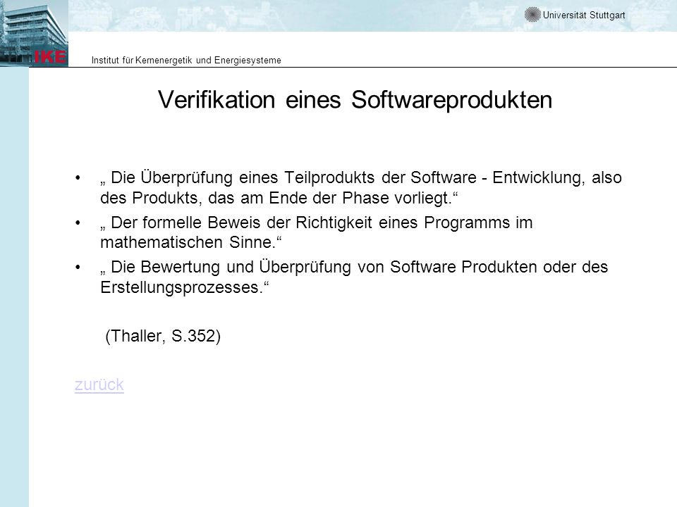 Verifikation eines Softwareprodukten
