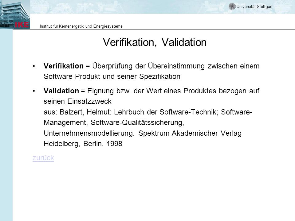 Verifikation, Validation