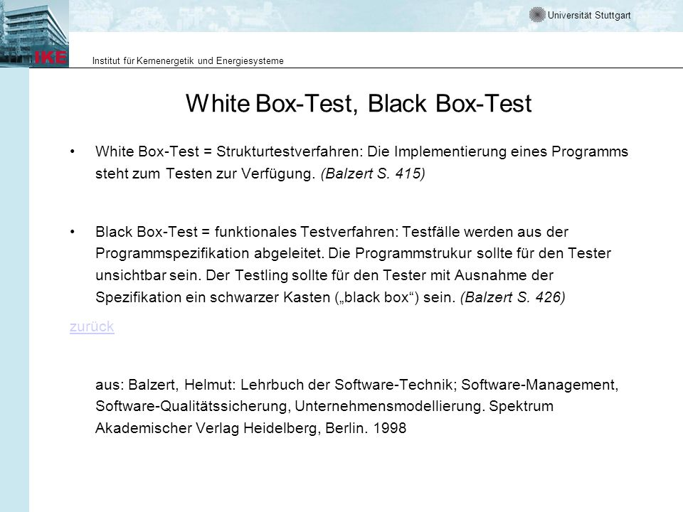 White Box-Test, Black Box-Test
