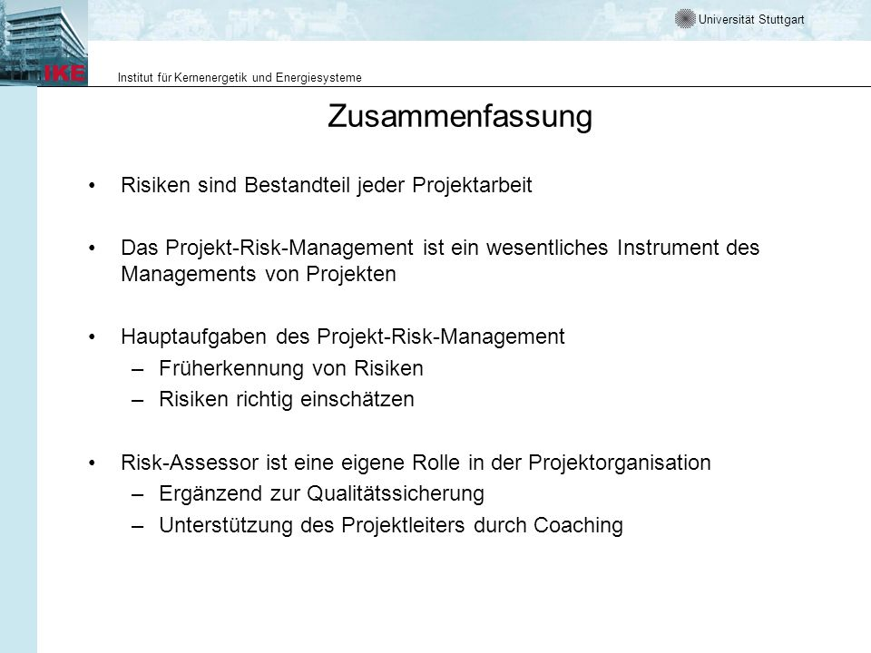 Zusammenfassung Risiken Sind Bestandteil Jeder Projektarbeit Ppt
