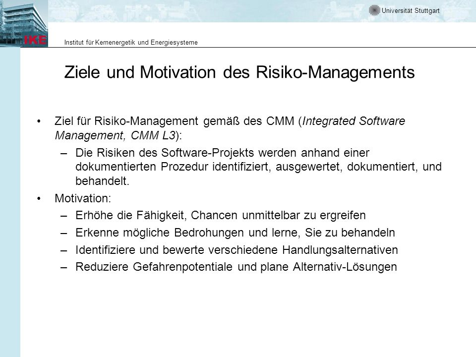 Ziele und Motivation des Risiko-Managements