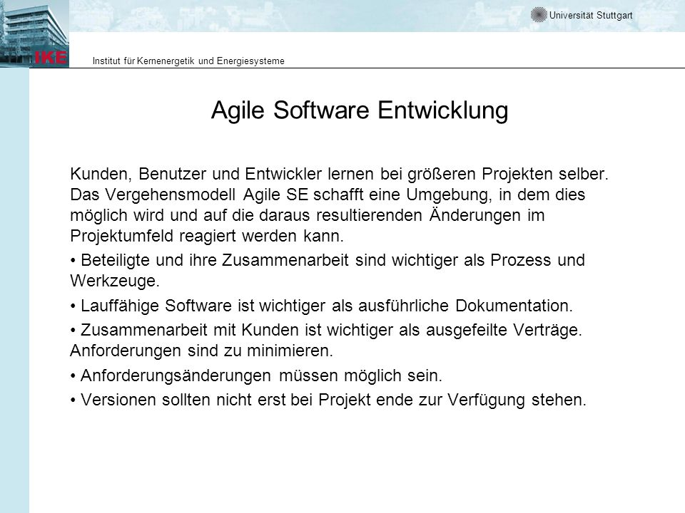 Agile Software Entwicklung