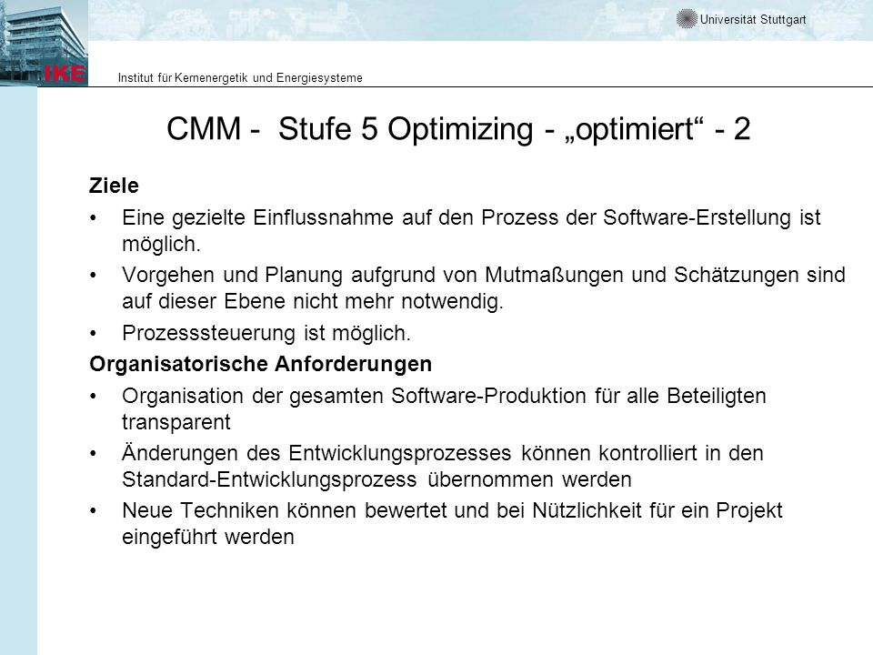"CMM - Stufe 5 Optimizing - ""optimiert - 2"