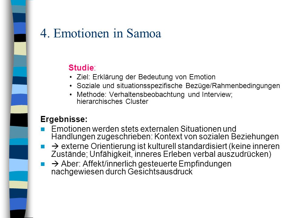 4. Emotionen in Samoa Studie: Ergebnisse: