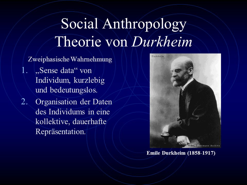 Social Anthropology Theorie von Durkheim