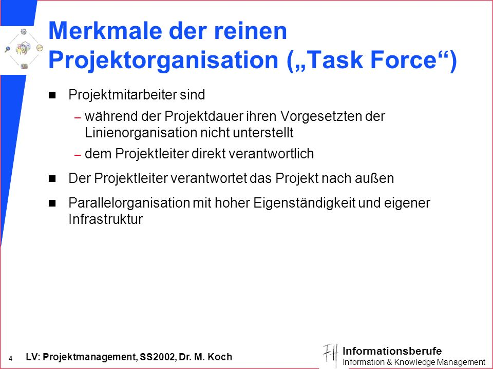 "Merkmale der reinen Projektorganisation (""Task Force )"