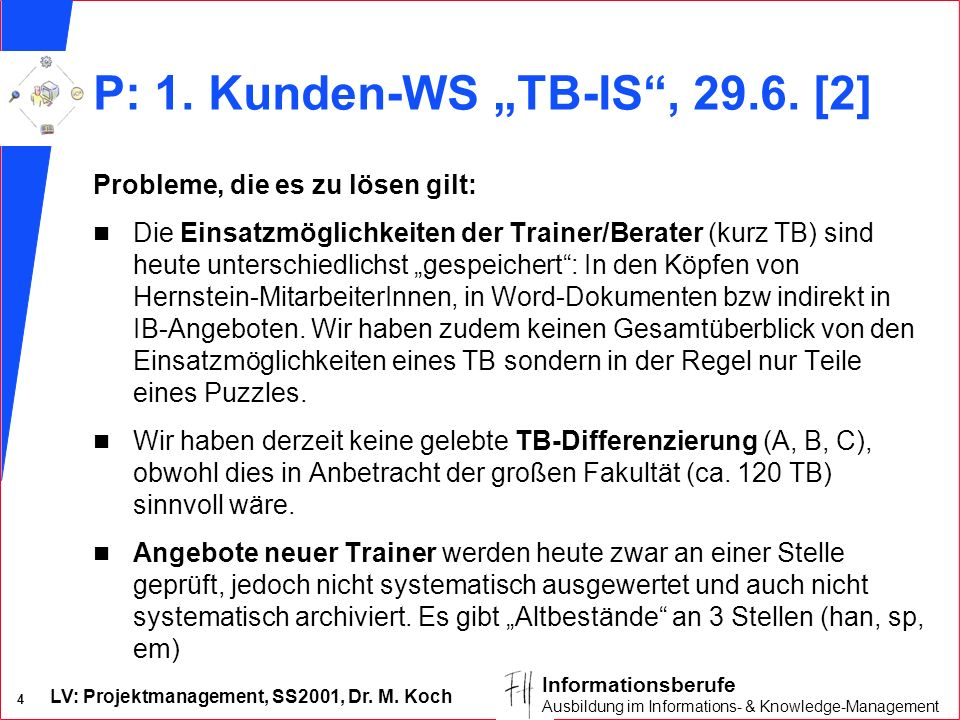 "P: 1. Kunden-WS ""TB-IS , [2]"