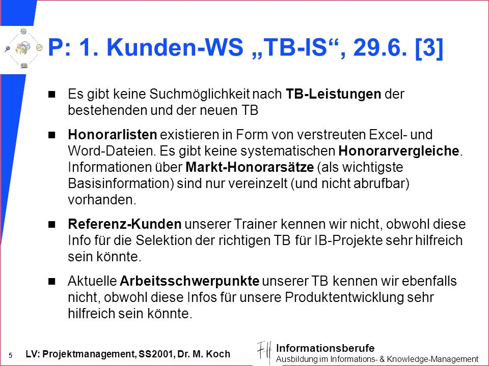 "P: 1. Kunden-WS ""TB-IS , [3]"
