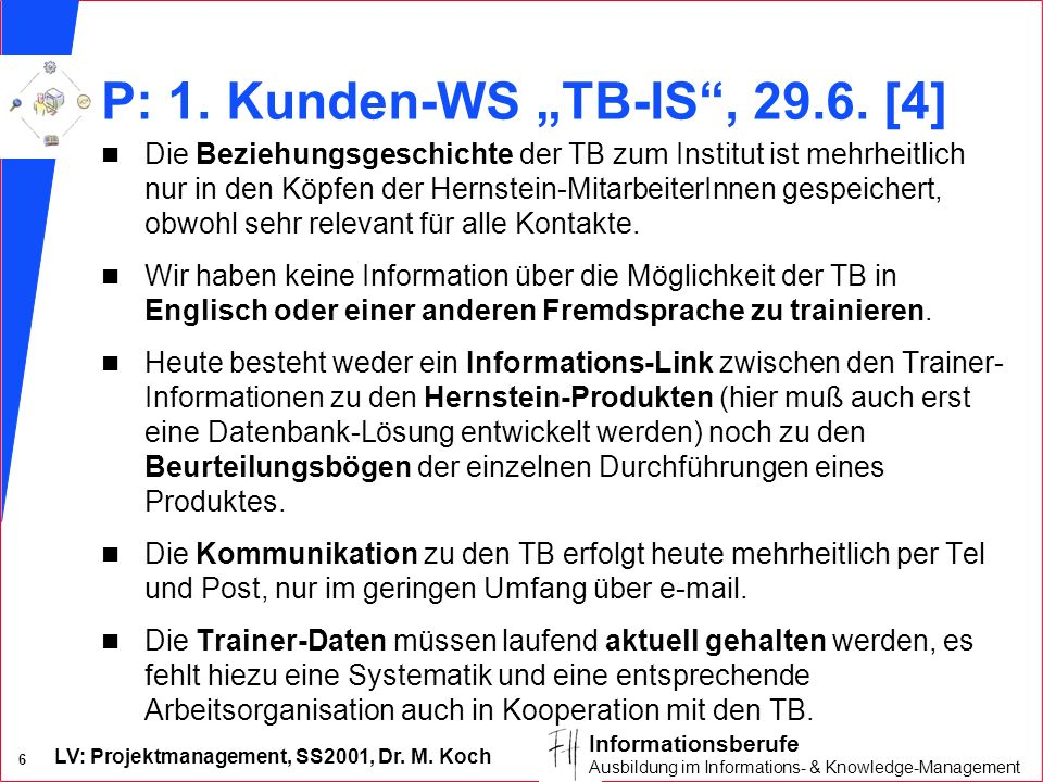 "P: 1. Kunden-WS ""TB-IS , [4]"