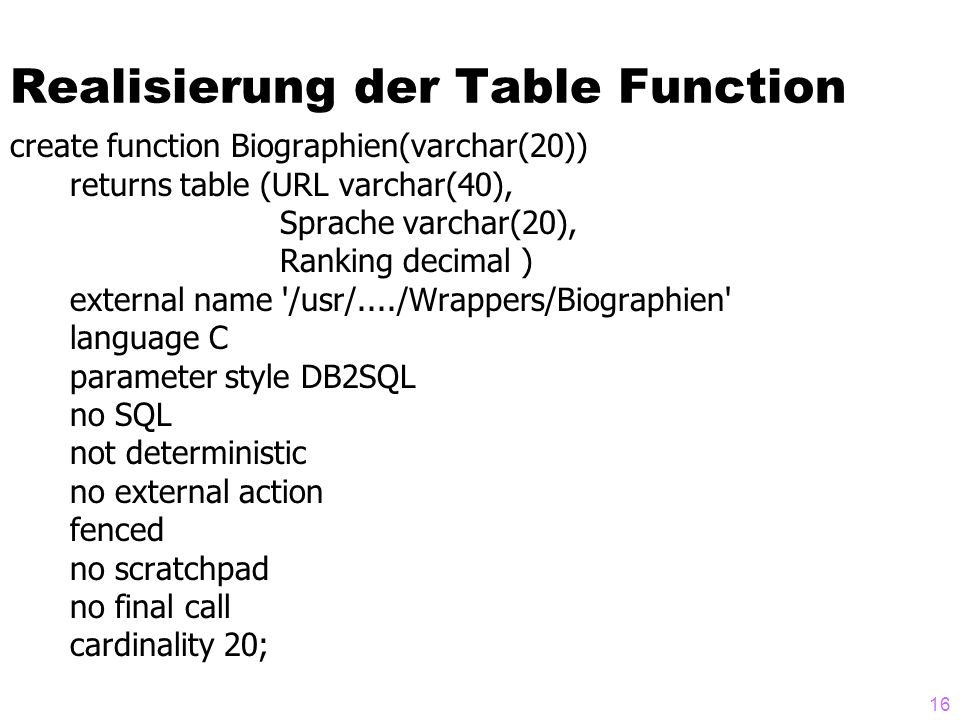 Realisierung der Table Function