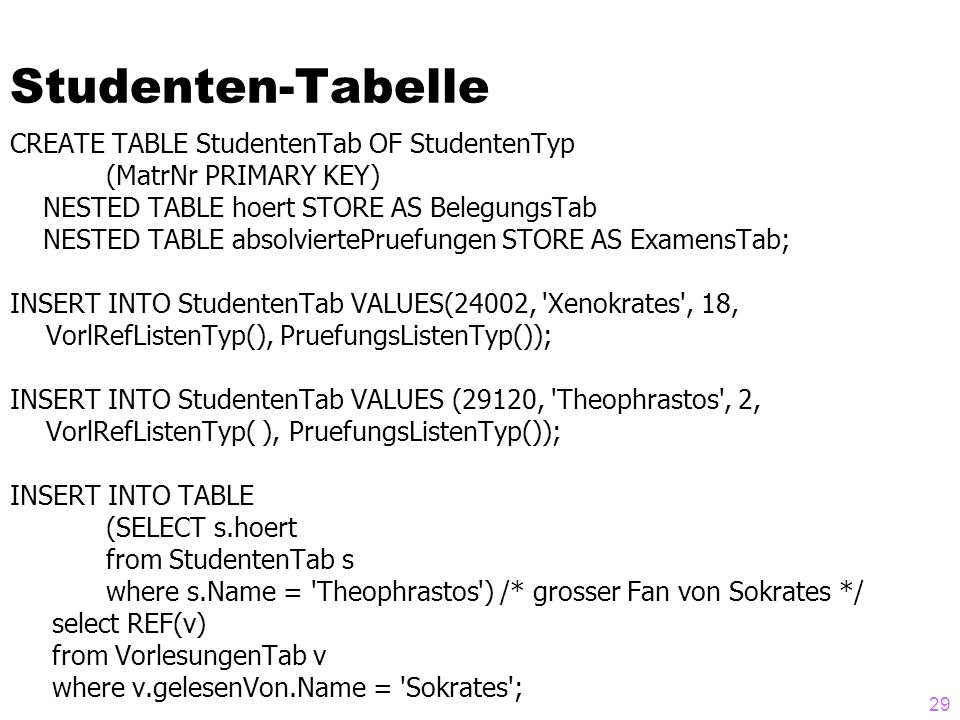 Studenten-Tabelle CREATE TABLE StudentenTab OF StudentenTyp