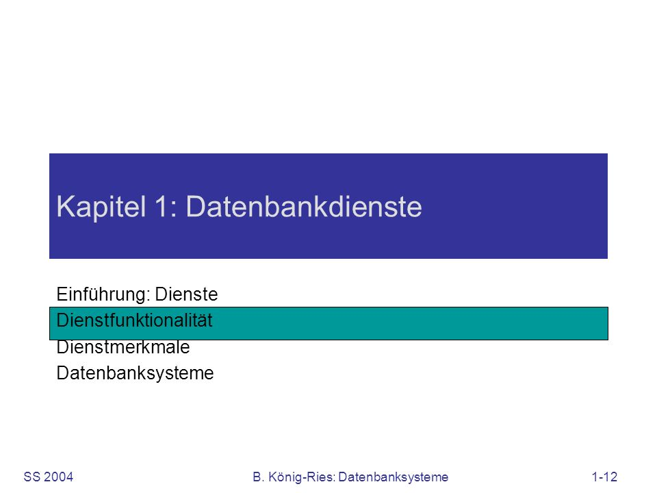 Kapitel 1: Datenbankdienste