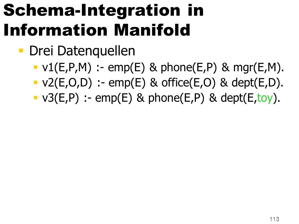 Schema-Integration in Information Manifold