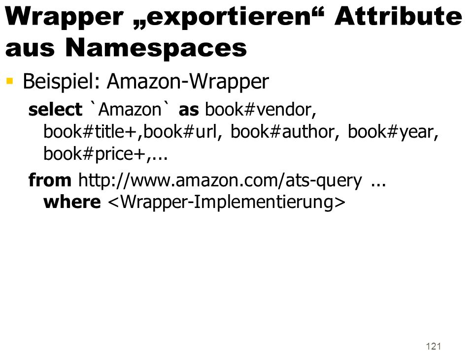 "Wrapper ""exportieren Attribute aus Namespaces"